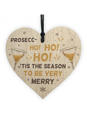 Funny Christmas Alcohol Gift Wood Heart Alcohol Prosecco Gift