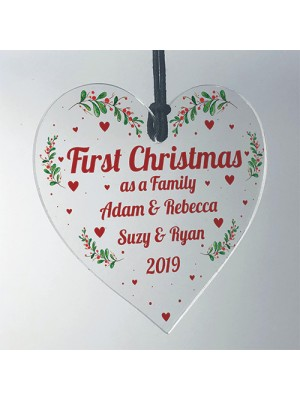 First Christmas As A Family Hanging Heart 1st Christmas Decor