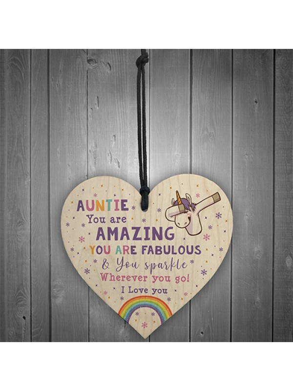 Novelty Auntie Gift For Birthday Christmas Unicorn Plaque