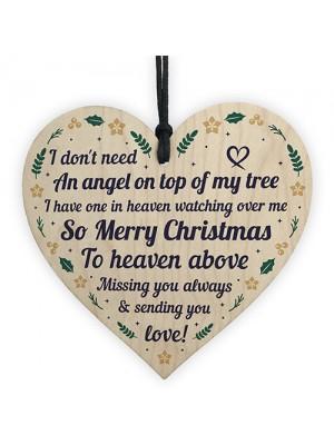 Christmas Memorial Decoration Hanging Wood Heart Memorial Plaque