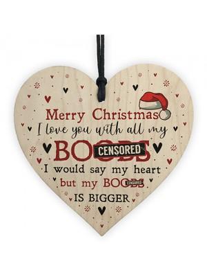 Funny Christmas Gift For Boyfriend Husband Wooden Heart