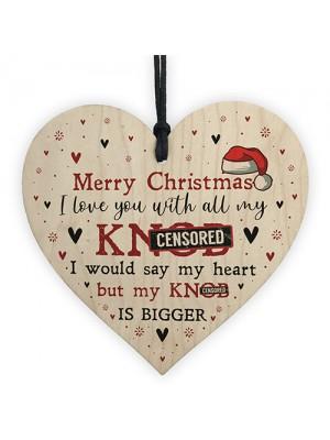 Rude Christmas Gift For Boyfriend Husband Wooden Heart