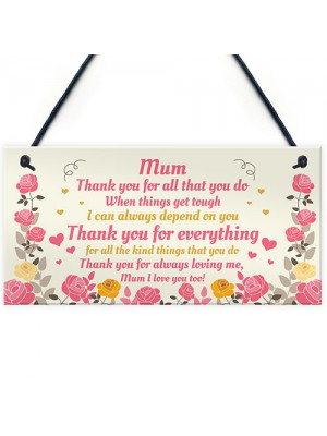 Special Mum Gift From Son Daughter Hanging Plaque Gift For Mum