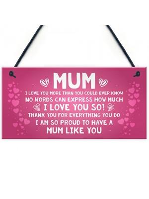 Mum Gift For Birthday Christmas Hanging Sign Gift For Mum