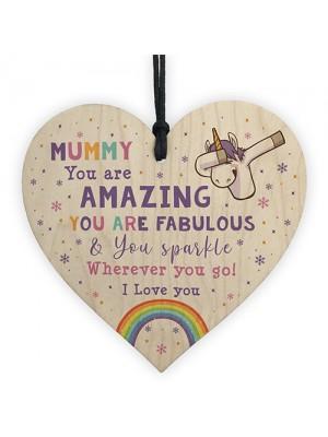 Novelty Mummy Gift For Birthday Christmas Unicorn Plaque Heart