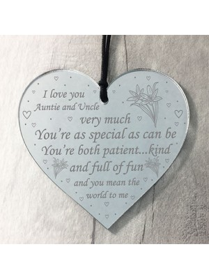 Auntie And Uncle Gift Heart Plaque Auntie Uncle Birthday Xmas