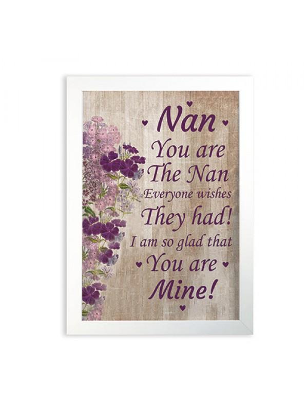Nan Poem Frame Print Nan Birthday Christmas Gift From Grandchild
