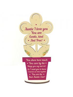 Auntie Gift Wooden Flower Handmade Gift For Auntie Birthday Xmas