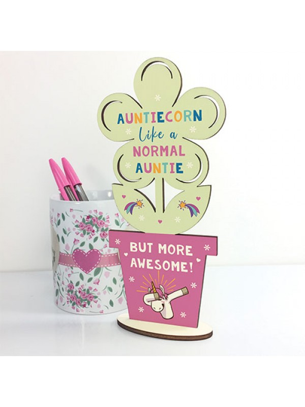 Handmade Auntie Gift Wooden Flower Auntiecorn Unicorn Gift