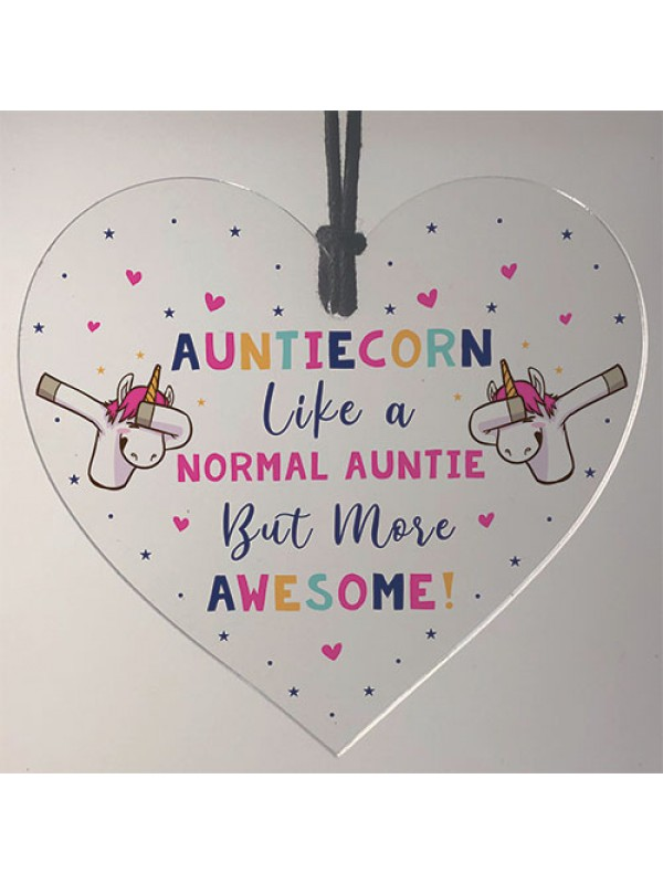 Novelty Auntie Unicorn Gifts Acrylic Heart Sign Funny Christmas