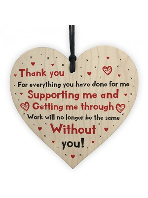 Leaving Gift For Colleague Hanging Heart Plaque Thank You Gift