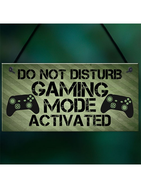 Gaming Sign Hanging Plaque For Boy Bedroom Man Cave Games Room