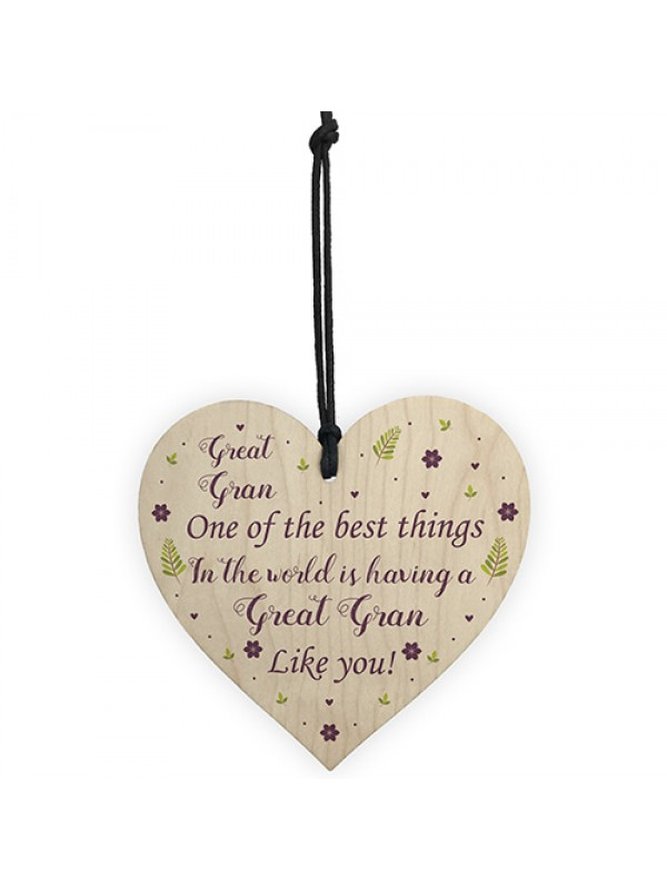 Great Gran Gift For Birthday Xmas Wood Heart Grandparent Gift