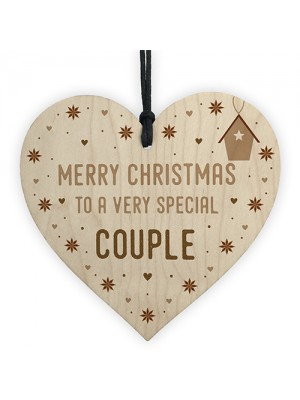 Handmade Christmas Gift For Couple Wooden Heart Tree Decoration
