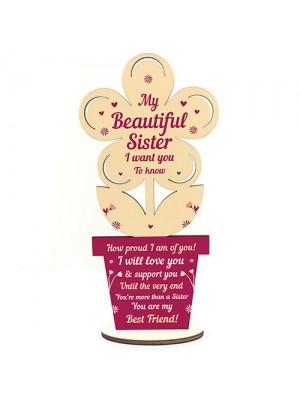 Sister Birthday Gift Sister Xmas Gift Wood Heart BestFriend Gift