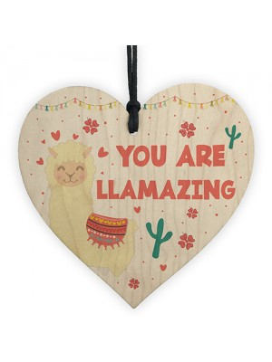Cute Llama Gift For Girls Novelty Wooden Hanging Heart Birthday