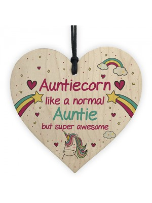 Gift For Auntie Birthday Christmas Hanging Heart Unicorn Sign