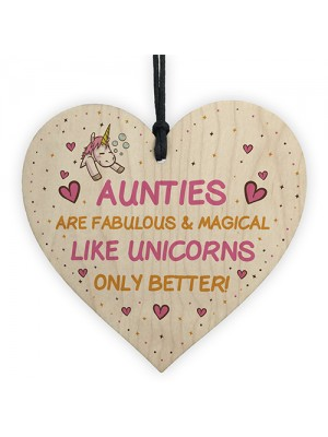 Auntie Plaque Wood Heart Funny Auntie Gift Unicorn Plaque