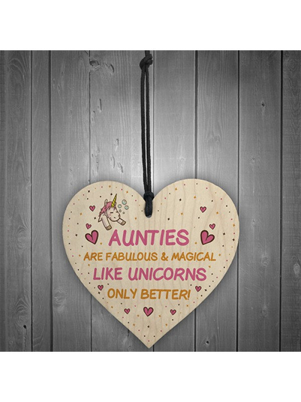 Auntie Plaque Wood Heart Funny Auntie Gift Unicorn Plaque