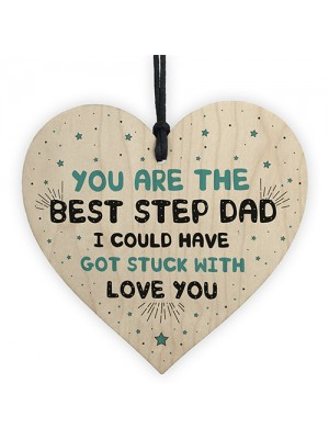 Step Dad Gift Wood Heart Step Dad Birthday Christmas Thank You