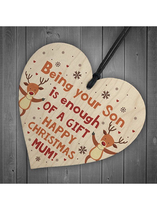 Funny Christmas Gift For Mum From Son Wood Heart Funny Mum Card