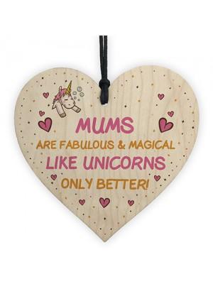 Mum Plaque Wood Heart Funny Mum Gift For Birthday Xmas Unicorn