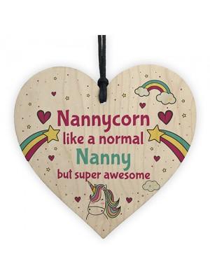 Gift For Nanny Birthday Christmas Wood Heart Unicorn Sign Gift