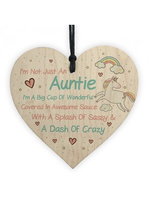 Crazy Auntie Plaque Wooden Heart Funny Auntie Gift For Birthday