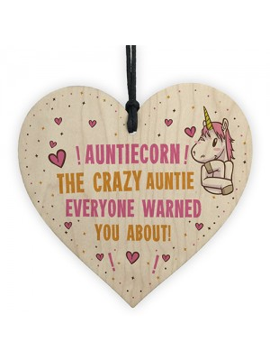 Auntie Gift Funny Unicorn Sign Crazy Auntie Birthday Xmas Gift