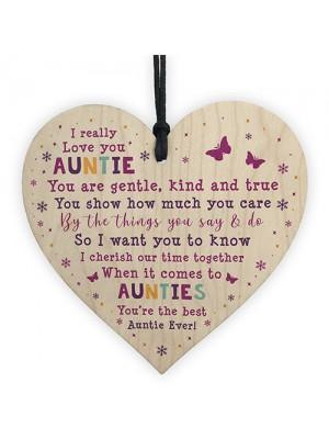 Best Auntie Ever Plaque Wood Heart Auntie Birthday Christmas