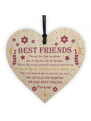 Thank You Best Friend Plaque Wood Hanging Heart Friendship Gift