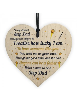 Step Dad Gift Novelty Plaque Wooden Heart Thank You Gift For Him