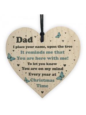 Dad Christmas Memorial Decoration Wood Hanging Heart