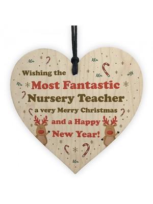 Handmade Wood Xmas Gift Heart Nursery Teacher Gift From Child