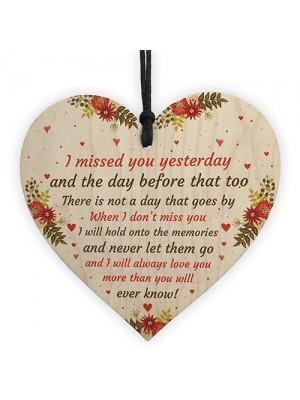 Miss You Memorial Plaque Wood Hanging Heart Mum Dad Nan Grandad
