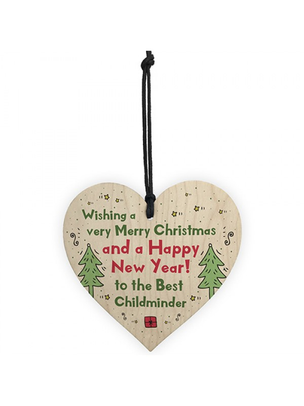 Handmade Christmas Gift For Childminder Wooden Heart Thank You