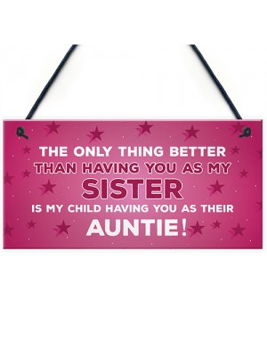 Novelty Gift For Auntie Sister Birthday Christmas Gift Plaque
