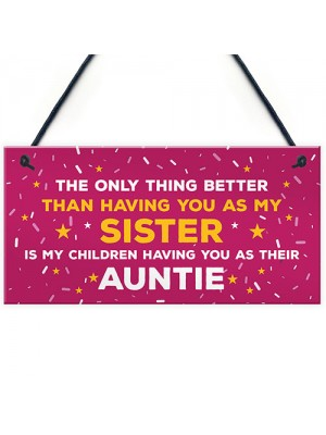 Auntie Christmas Hanging Sign Thank You Sister Gift For Birthday
