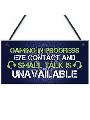 GAMING IN PROGRESS Novelty Gaming Sign Christmas Gamer Gift