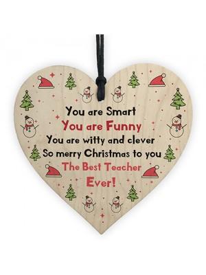Handmade Teacher Gift For Christmas Wood Heart Thank You Gift