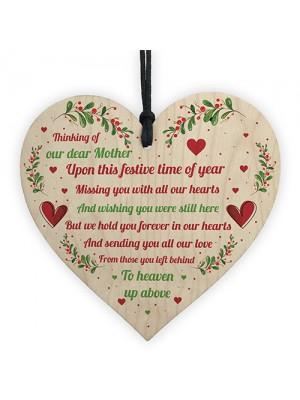Mum Memorial Christmas Decoration Wood Heart Memory Plaque