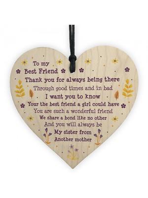 Handmade Gift For Best Friend Birthday Christmas Wooden Heart
