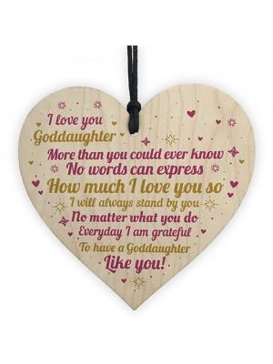 Goddaughter Christening Gift Keepsake Wood Heart Birthday Xmas