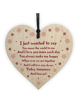 Handmade Anniversary Gift For Him Her Wood Heart Valentine Gift