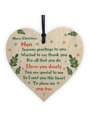 Handmade Merry Christmas Nan Wooden Heart Gift For Nan Keepsake
