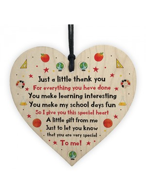 Just A Little Thank You Wood Heart Gift For Teacher Leaving