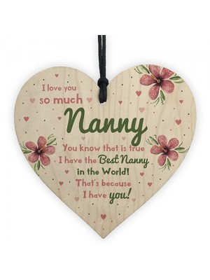 Special Gift For Nanny Wood Heart Nan Birthday Gift Grandparent