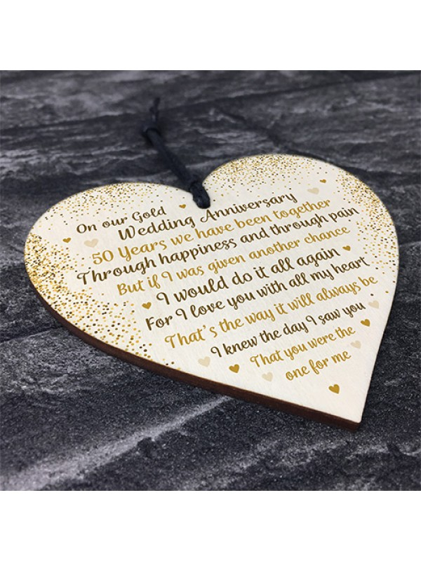 50th Gold Wedding Anniversary Gift For Husband Wife Wooden Heart