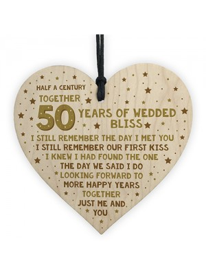 50th Wedding Anniversary Card Wood Heart Gift For Husband Wife