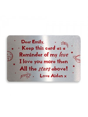 Novelty Personalised Metal Wallet Card For Valentines Day Gift